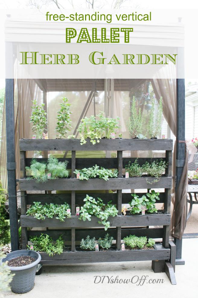 Free-standing Pallet Herb Garden Means Fresh Herbs Near the Kitchen ...
