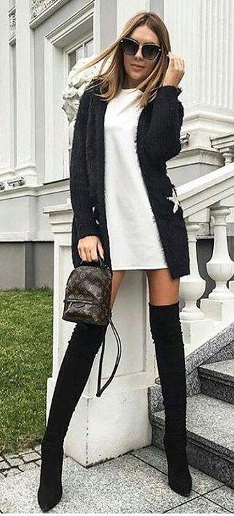 #winter #fashion /  Black Cardigan // White Dress // Black Velvet OTK Boots