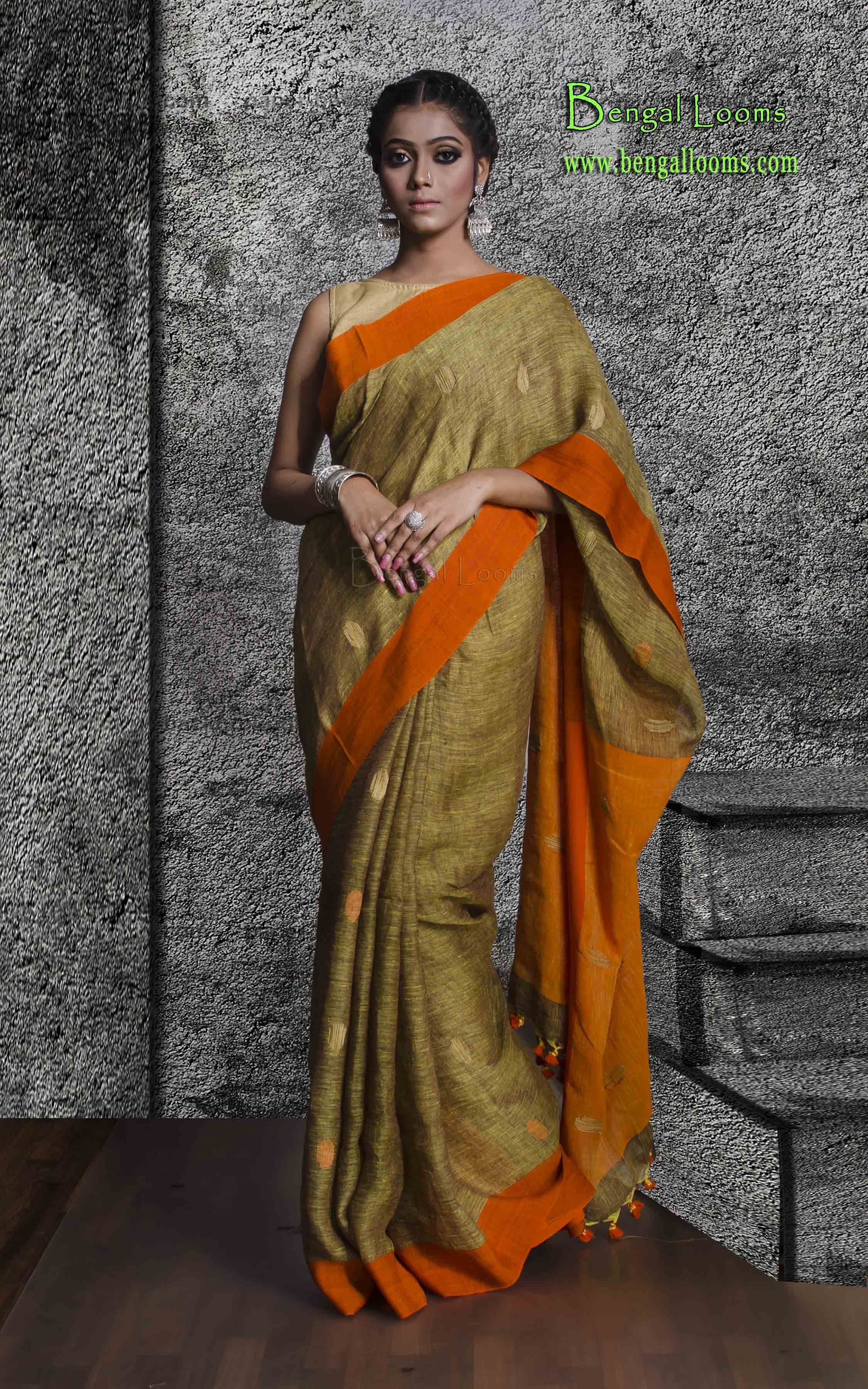 Linen Jamdani Saree In Brown And Orange Linen Sarees In