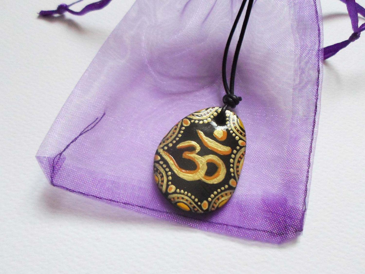 Hand painted om pendant golden om symbol sign necklace zentangle hand painted om pendant golden om symbol sign necklace zentangle drawing om unique necklace buycottarizona Gallery