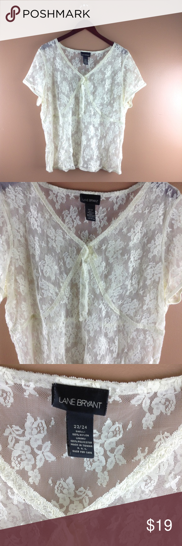 Lane Bryant Lace Top Adorable lace top by Lane Bryant in size 22/24.  Like new condition.  🌵 Add to a bundle for an automatic discount or make an offer.  💕 If you bundle tour likes together I can send you a private discounted offer, just let me know! Lane Bryant Tops Blouses
