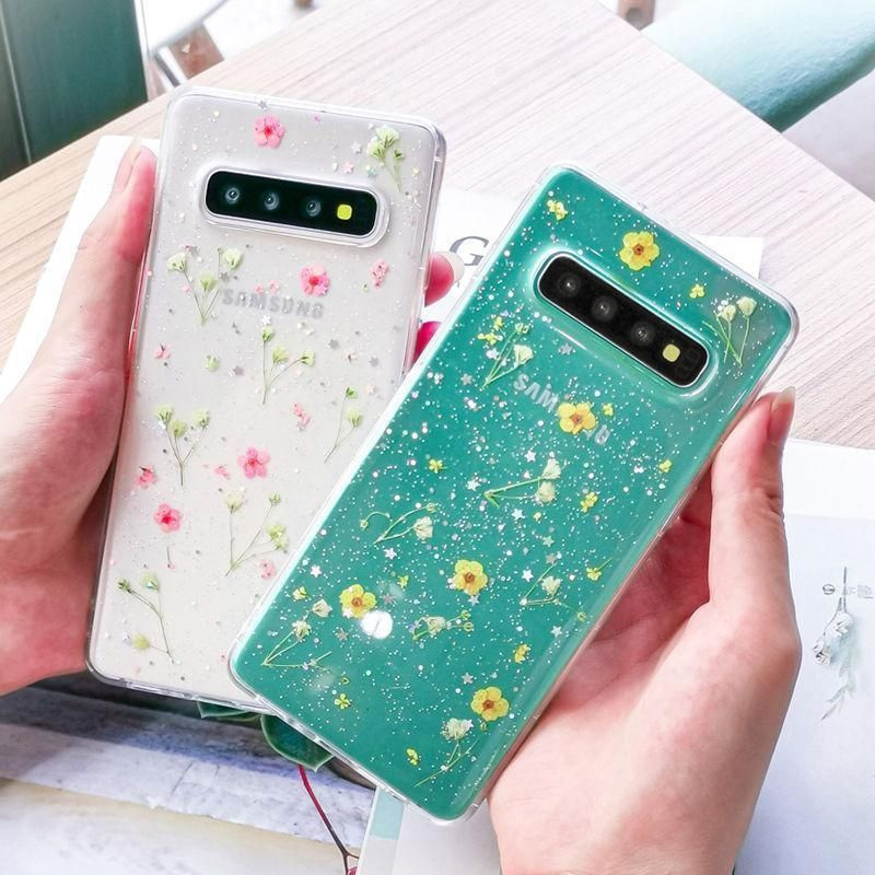 Real Dried Flower Clear Shining Glitter Phone Case Cover for Samsung S