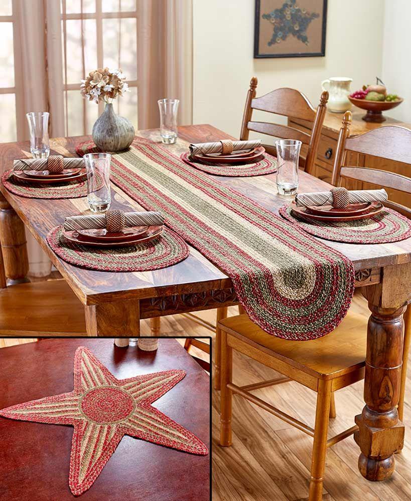 Homestead Braided Table Accents Table, Burgundy table