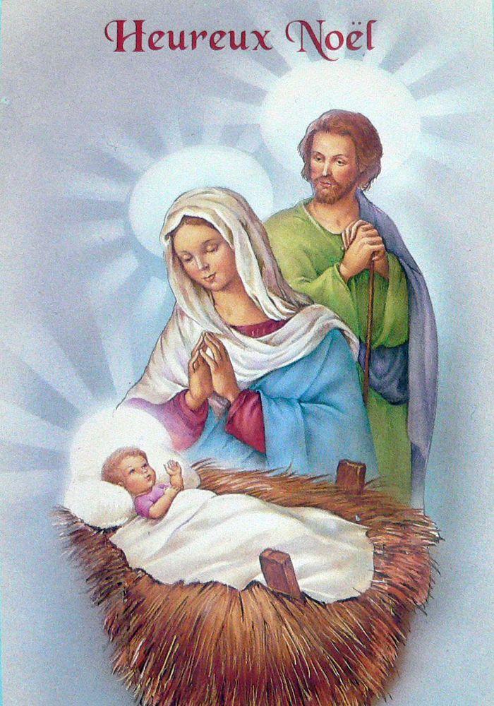 Belle Carte postale de JOYEUX NOEL petit Jésus Marie et Joseph 15