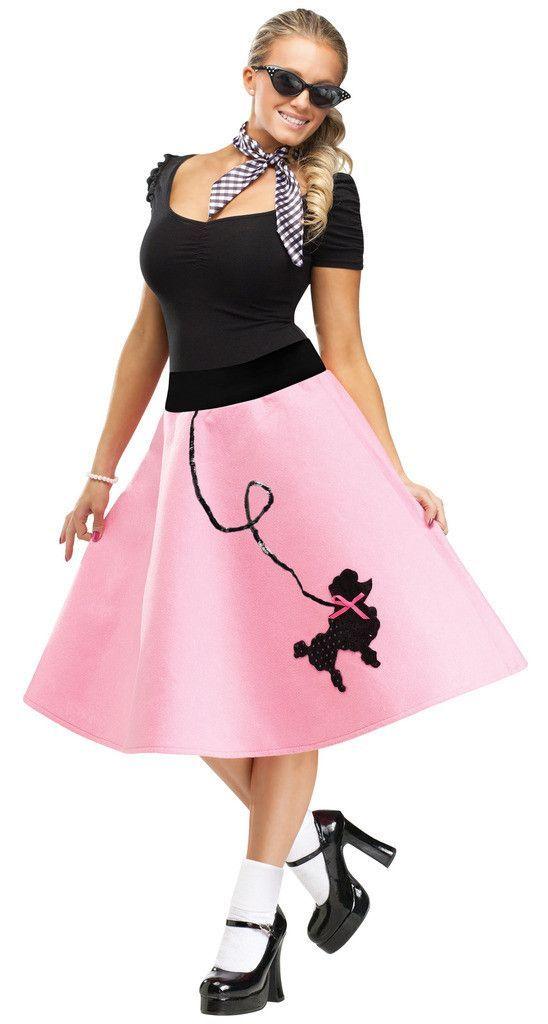 Adult Poodle Skirt Schoool Pinterest Poodle skirts, Poodles - black skirt halloween costume ideas
