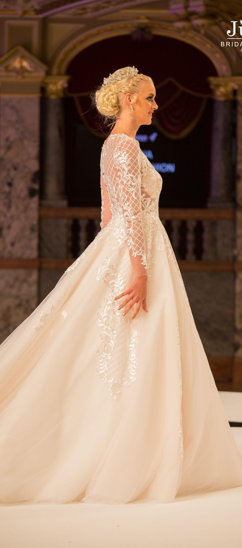 Wedding dress with barokko lace long sleeves by Julija Bridal ...
