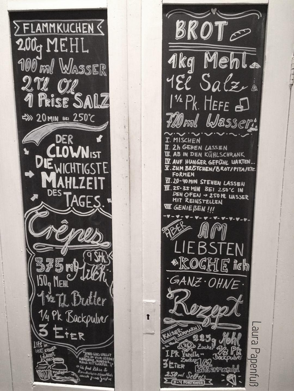 Tafel, Küchenschrank, Schrift, Kreide, Rezepte, selbstgemacht ...