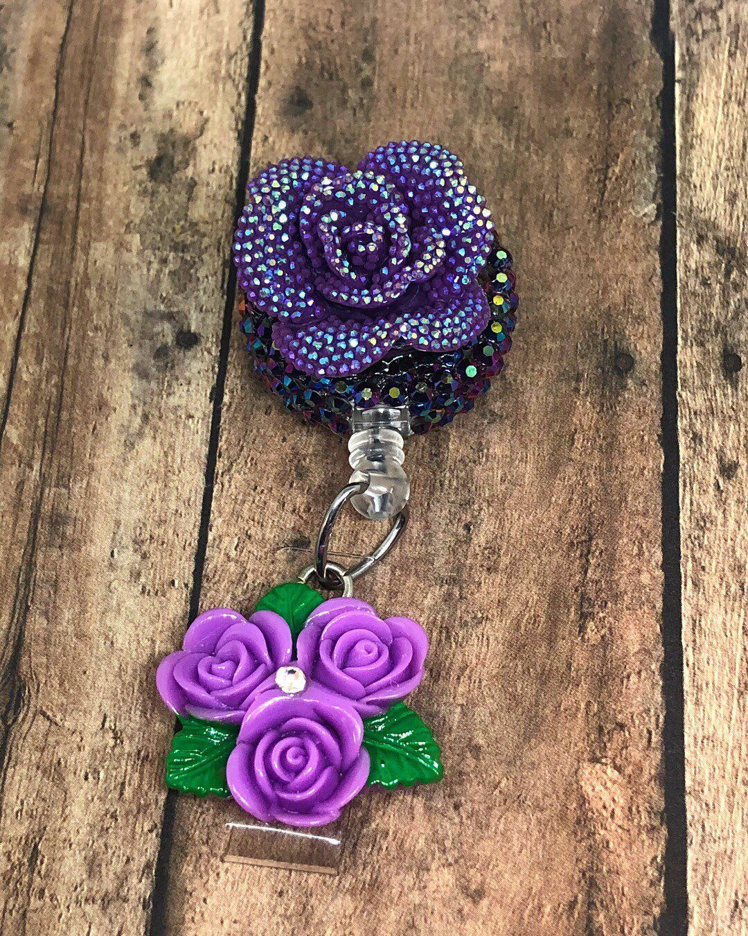 new grad Bling Flower Purple Nurse ID Badge Holder Retractable Reel On Clip