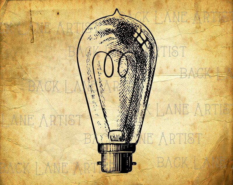 Vintage Light Bulb Clipart Illustration Instant Download ...