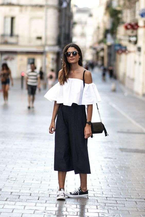 a2859d6cf36ac5 Pantaloni Culotte: outfit da copiare - Top spalle scoperte e culotte ...