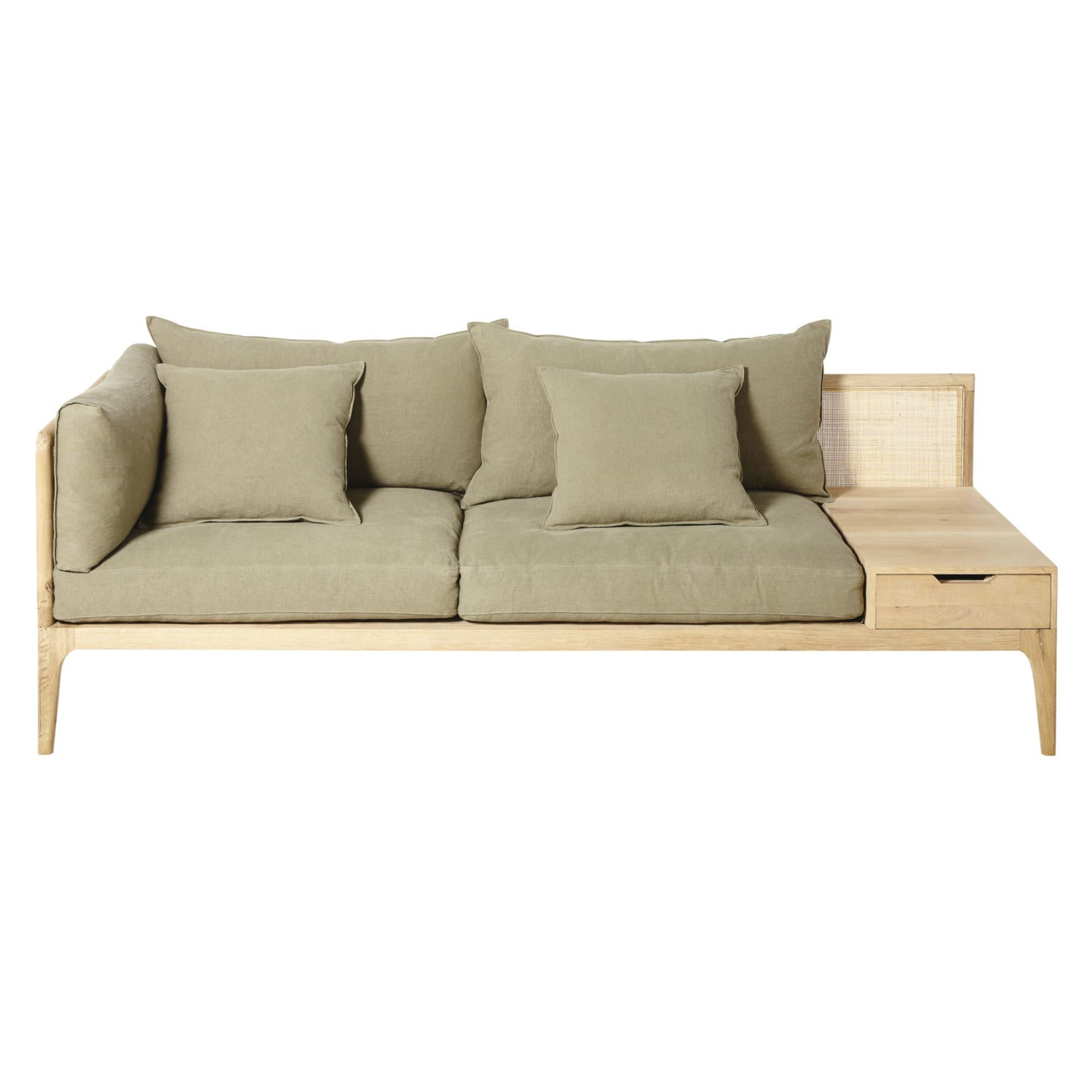 Khaki 3 Seater Sofa Delphes Maisons Du Monde Sofa 3 Seater Sofa Seater Sofa