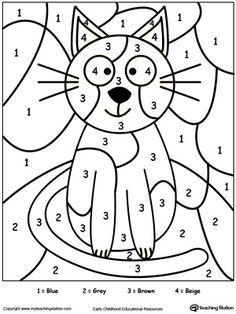 Color By Number Cat Kindergarten Colors Number Worksheets Kindergarten Color By Number Printable