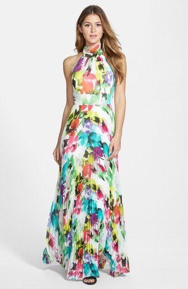 fad8610d8c1 Eliza J Print Chiffon Halter Maxi Dress