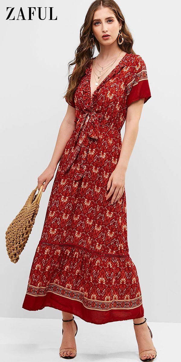 $19.89 Tie Front Floral Ruffles Maxi Dress 8
