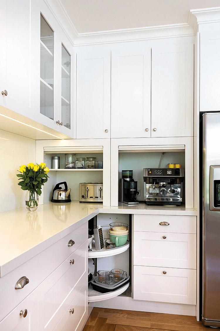 Corner kitchen cabinet storage ideas appliance garage #smallkitchenorganization