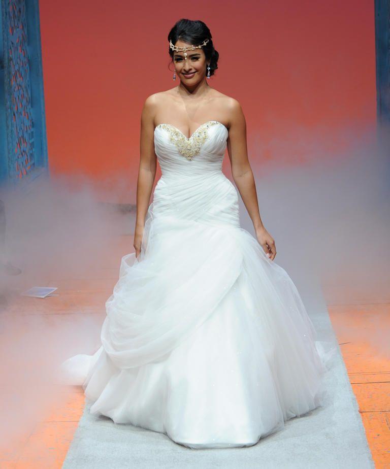 See disney fairy tale weddings by alfred angelo 39 s wedding for Jasmine wedding dress disney