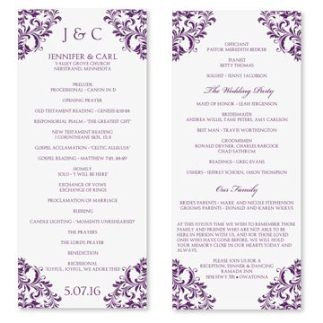 Wedding Program Templates  Home Ceremony Templates Wedding Programs