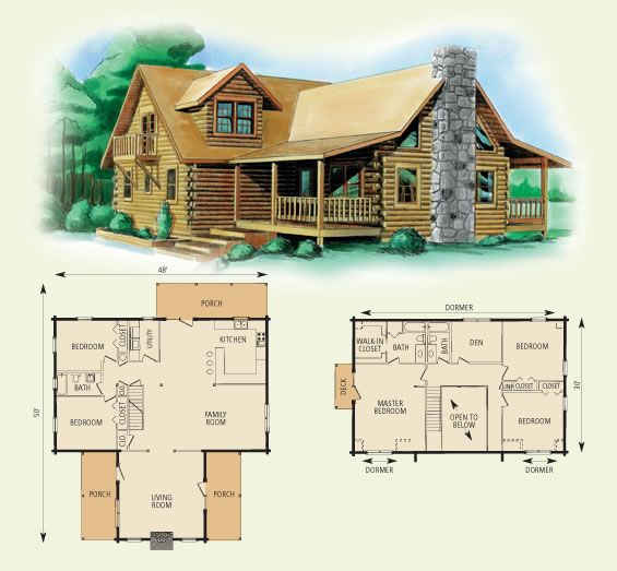 Montgomery Log Home Floor Plan