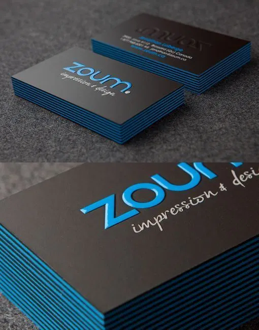 Zoum Business Cards With Black And Blue Edges Sharp Design Graphic Templates Graphic Design Business Card Business Card Inspiration Embossed Business Cards