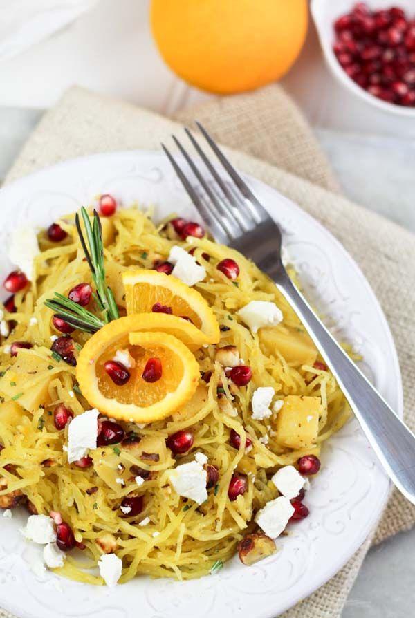 spaghetti squash, pomegranate & goat cheese salad