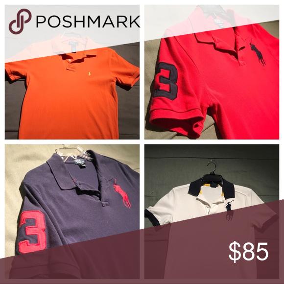 All 3 Ralph Lauren Polo Shirts For 40 Ralph Lauren Polo Shirts Polo Ralph Lauren Polo Shirt
