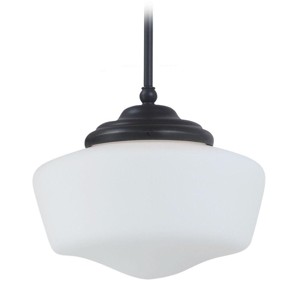 Sea gull lighting schoolhouse pendant light with white glass in
