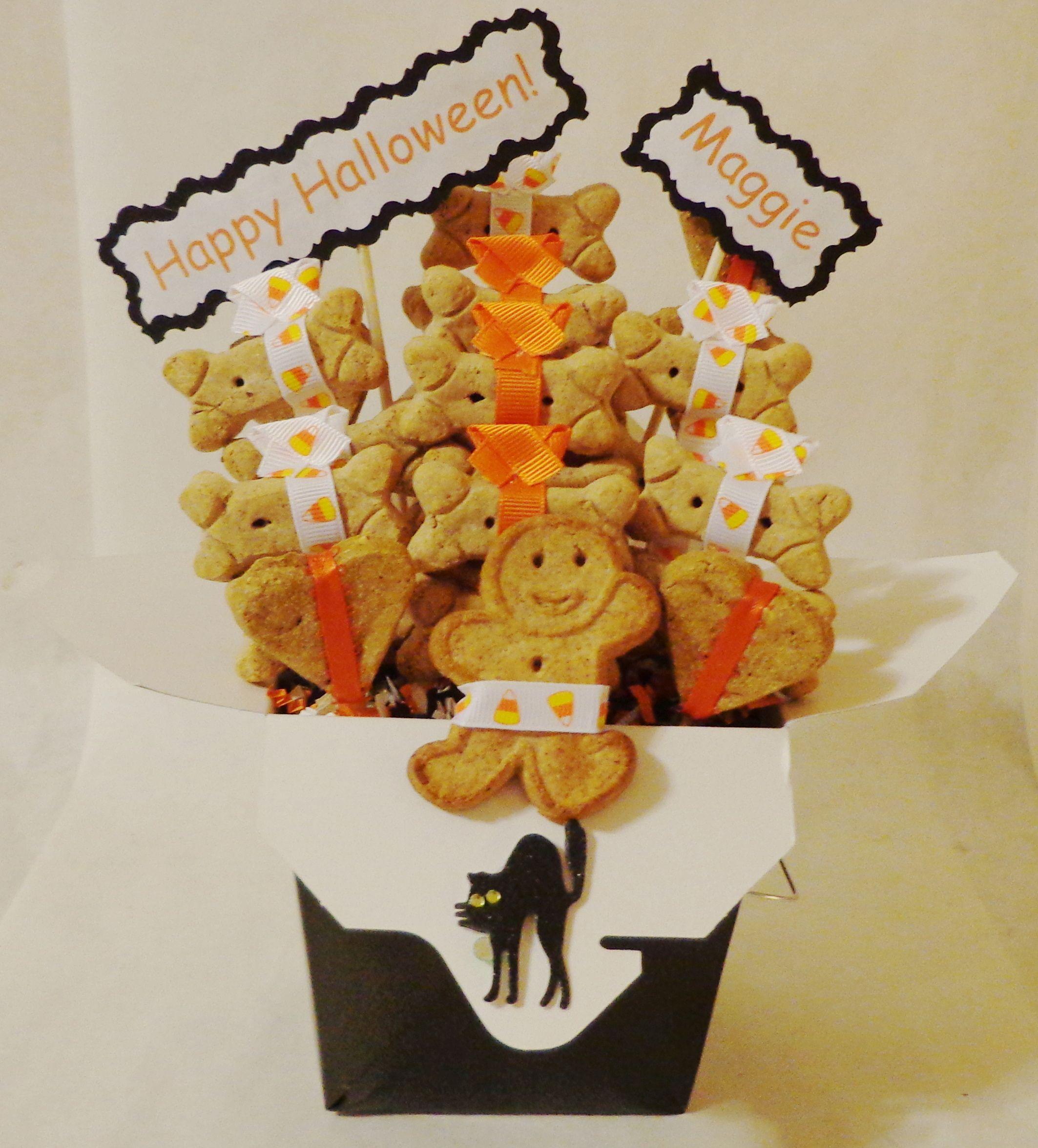 Custom Halloween dog treat gift basket. Use code