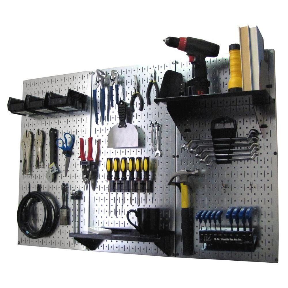 Wall Control 32 In X 48 In Metal Pegboard Standard Tool Storage Kit With Galvanized Pegboard And Black Peg Accessories 30wrk400gvb The Home Depot In 2020 Metal Pegboard Storage Kits Tool Storage