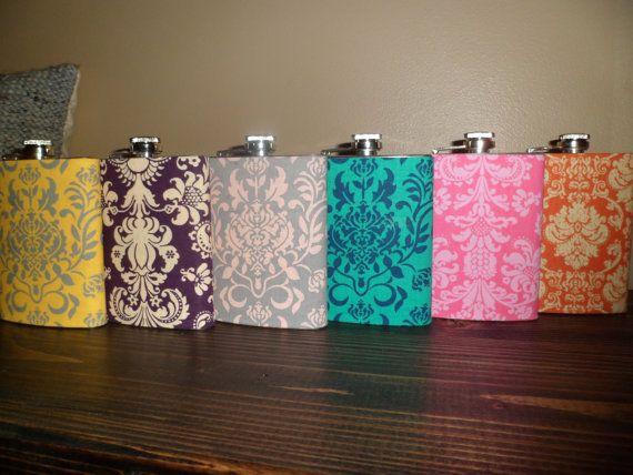 Girly Flasks Damask Flasks Floral Flasks by CourtandSparkDesigns, $12.00