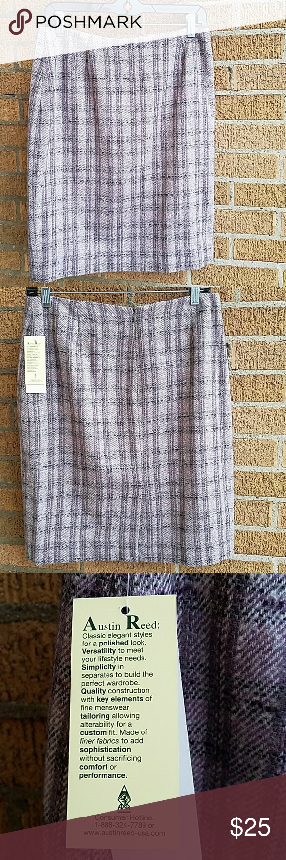 Austin Reed Plaid Skirt Size 8 Plaid Skirts Wool Plaid Pink Plaid