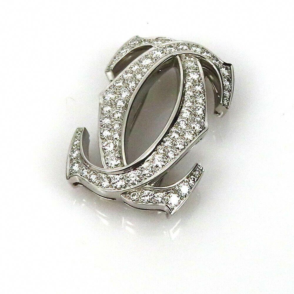 Vintage Cartier 7.50ct Diamond & 18K White Gold Double C