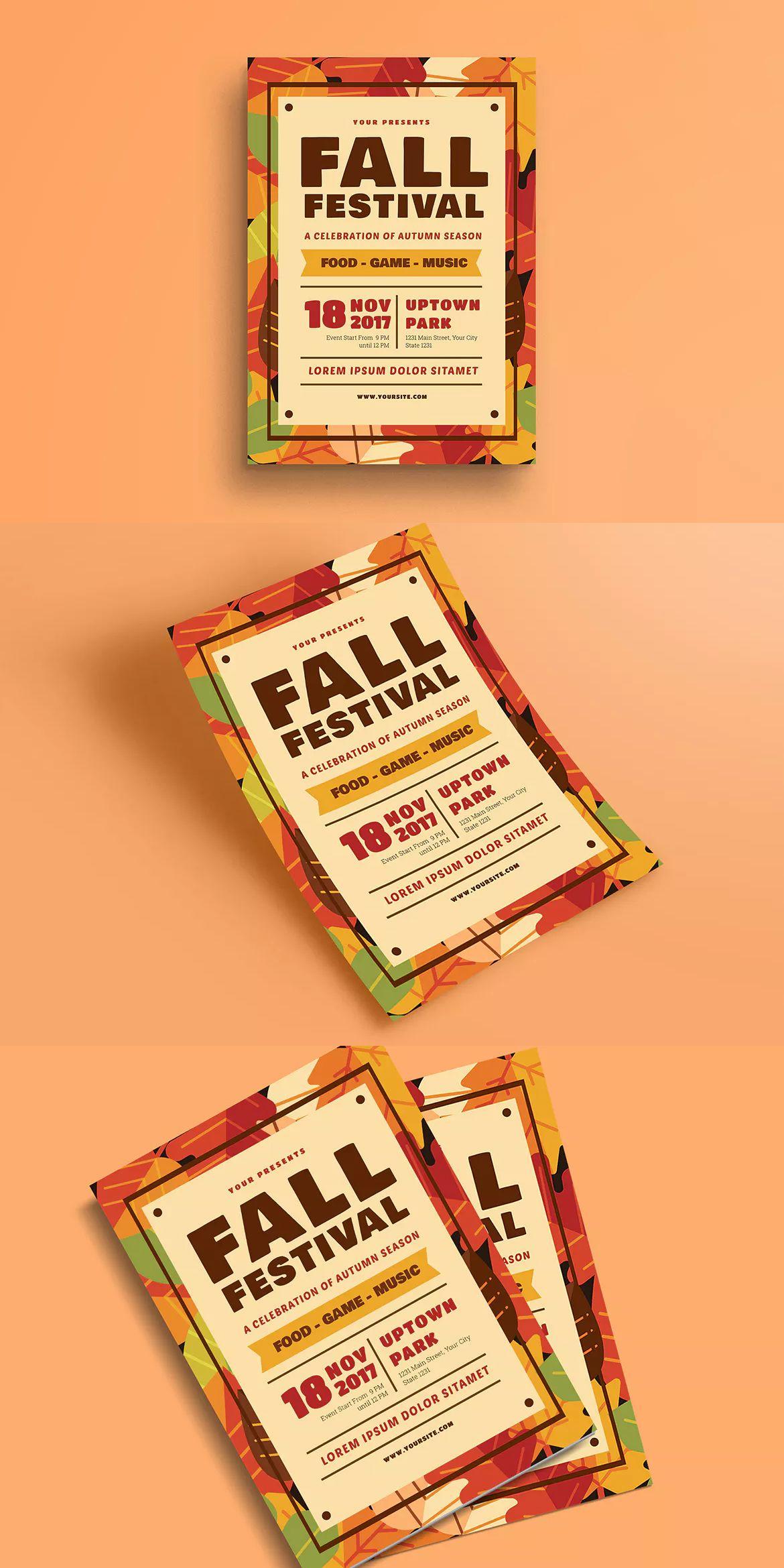 fall festival flyer template ai psd a4 unlimiteddownloads