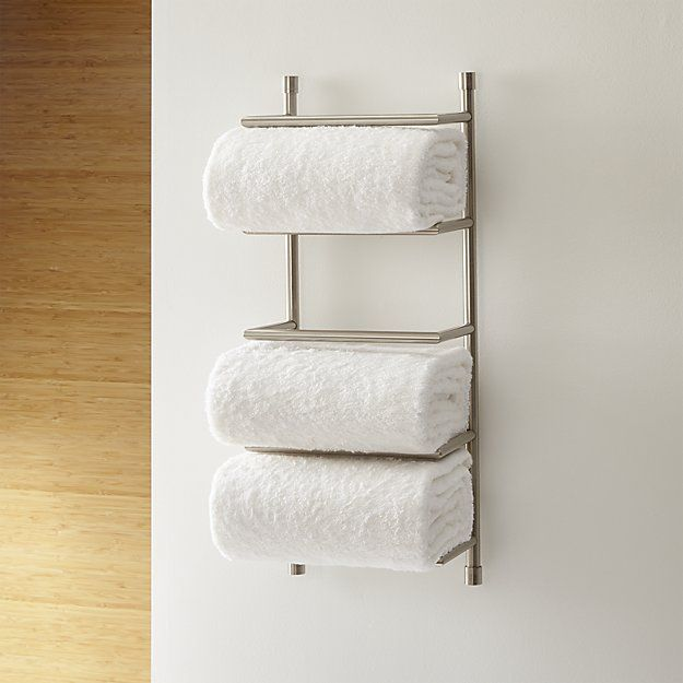 Brushed Steel Wall Mount Towel Rack Bath Storage