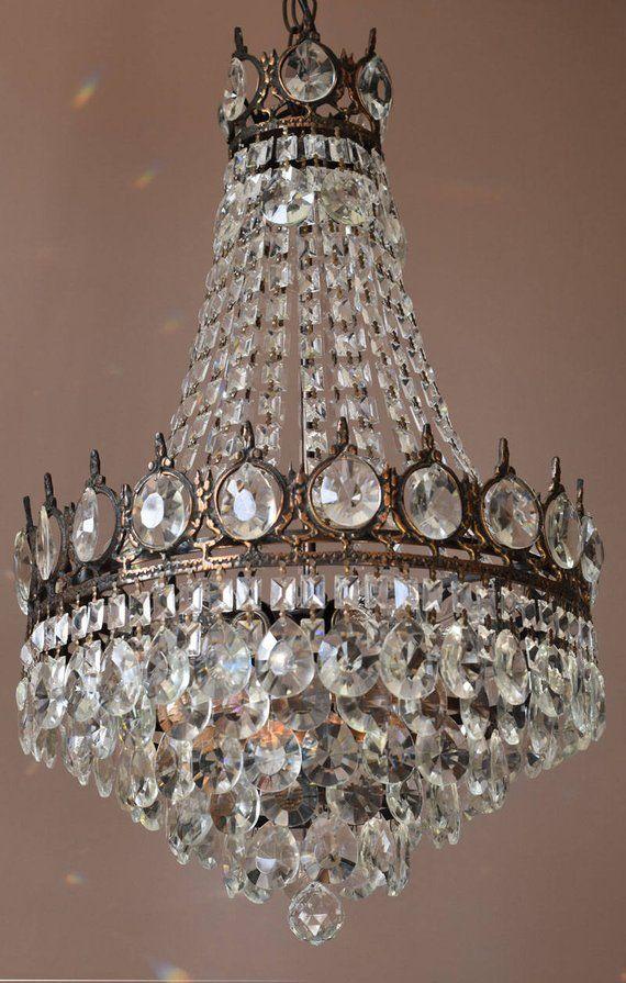 SALE Solid Bronze Vintage Crystal Chandelier Antique French Vintage Pendant Crystal  Chandelier Lamp - SALE Solid Bronze Vintage Crystal Chandelier Antique French Vintage