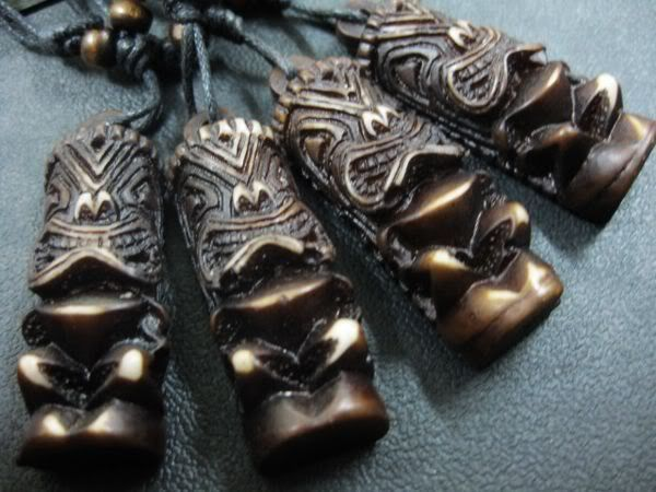 12 pcs Black Yak Bone Carved Tiki Man