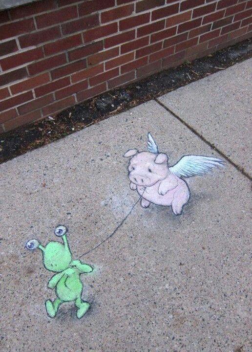 David Zinn Street Art Chalk D Pinterest David Zinn - David zinns 3d chalk art adorably creative