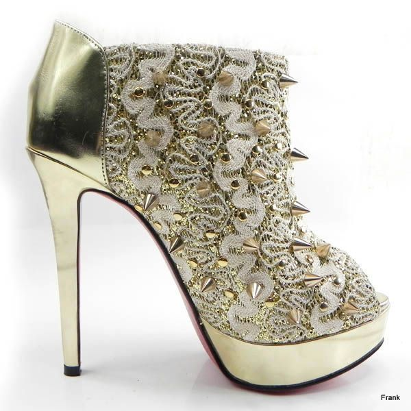 d4fa78b1a230 Christian Louboutin Bridgets Back Spiked Ankle Boots Gold