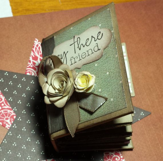 Tiny Handcrafted Journal. Hey There Friend by ReneesOdyssey