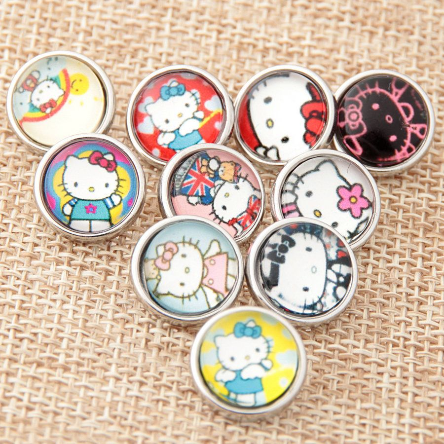 Pcslot mix styles new mm mini snaps button lovely carton cat