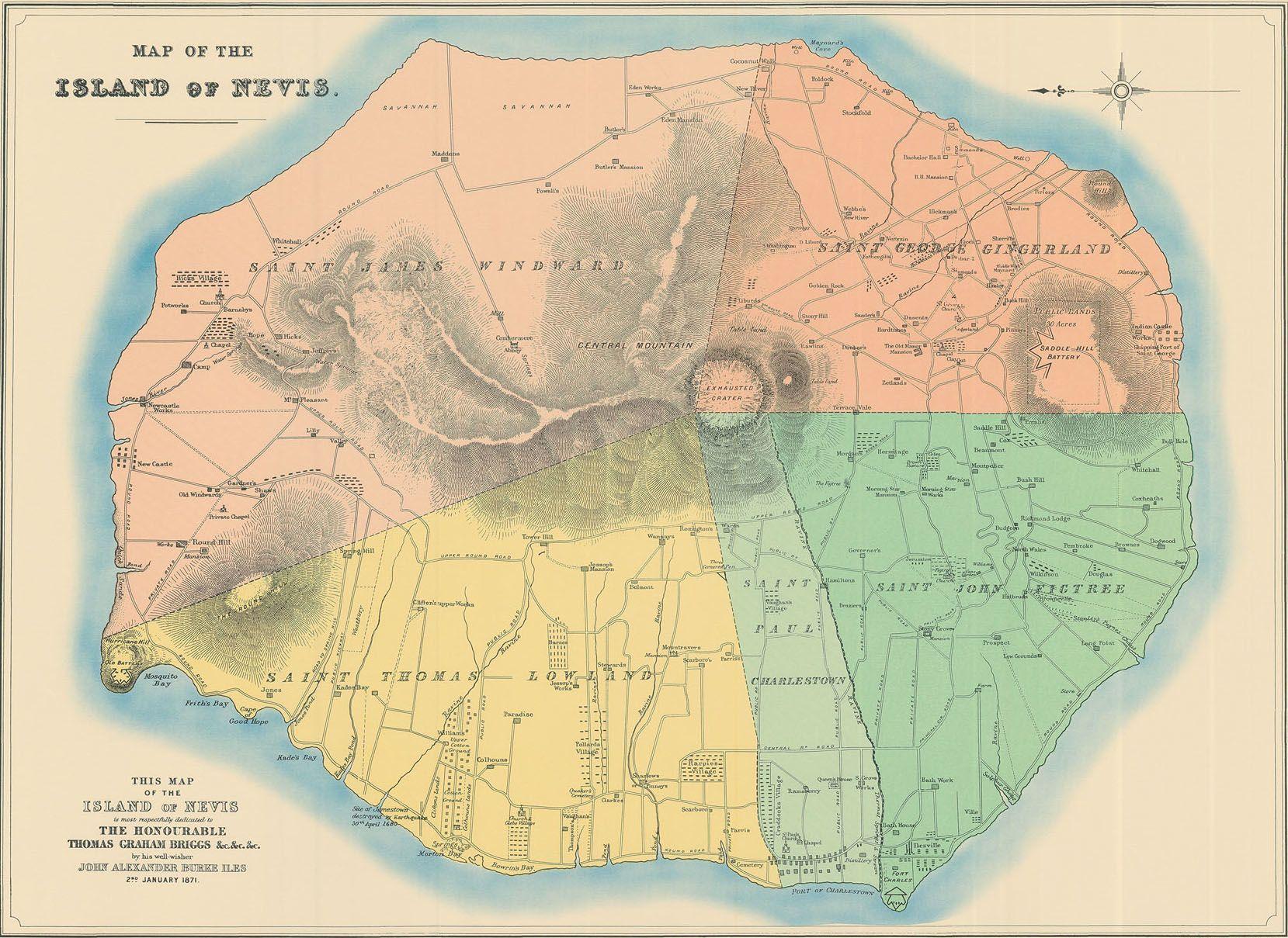 Nevis Map 1871  Nevis  Pinterest  Nevis west indies St kitts