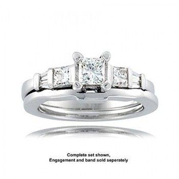 14k White Gold Diamond Bar Set Accent Engagement Ring - 1.15cttw