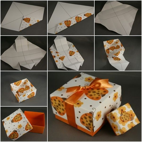 Here is a origami gift box you can easily fold with card stock here is a origami gift box you can easily fold with card stock paper you can even use clean paper and print patterns yourself to make it special solutioingenieria Images
