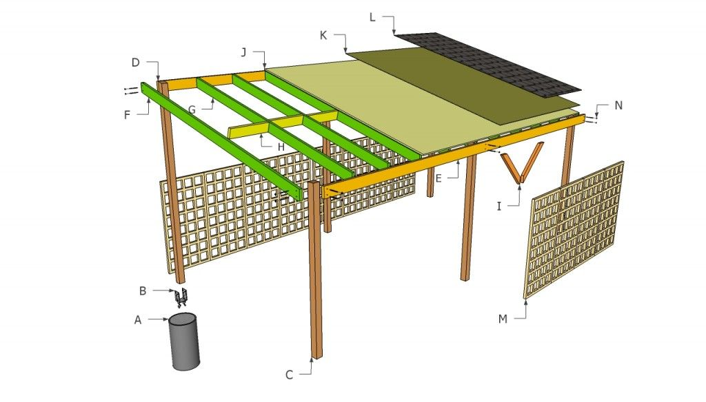 Wooden carport plans howtospecialist how to build for Lean to house designs