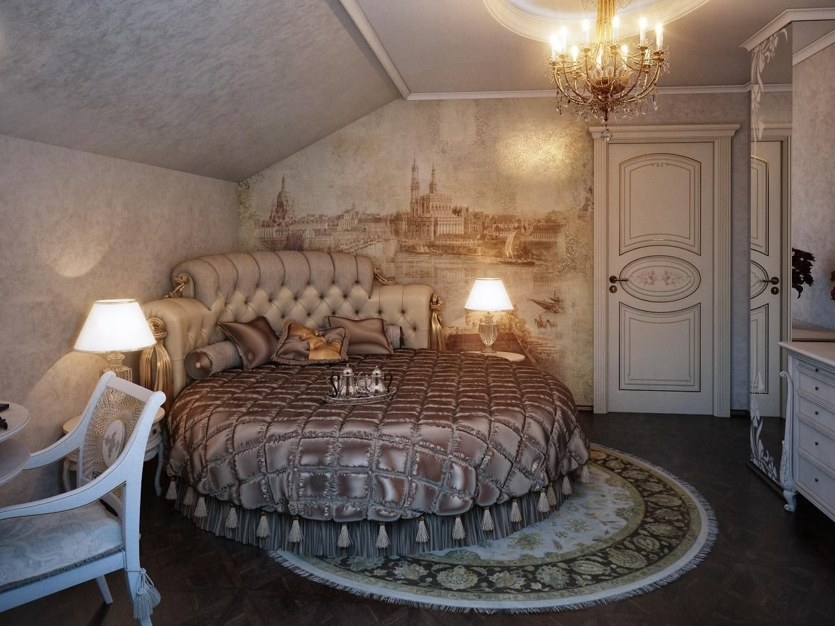 10 Romantic Vintage Style Bedroom Design Ideas : Romantic Attic Wall Mural Bedroom with Comfy Round Bed and Contemporary Chandelier