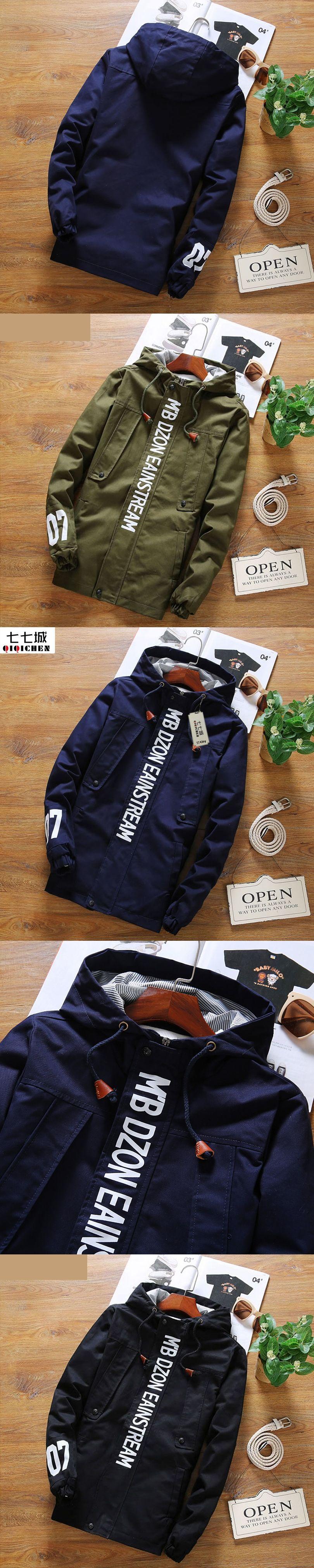 499dbc641d9 Army Jacket Men Hooded Jacket Male Letter Men Jacket Coats 2017 New Fashion  Causal Plus Size 5XL Zipper Men Coat 3 Colors