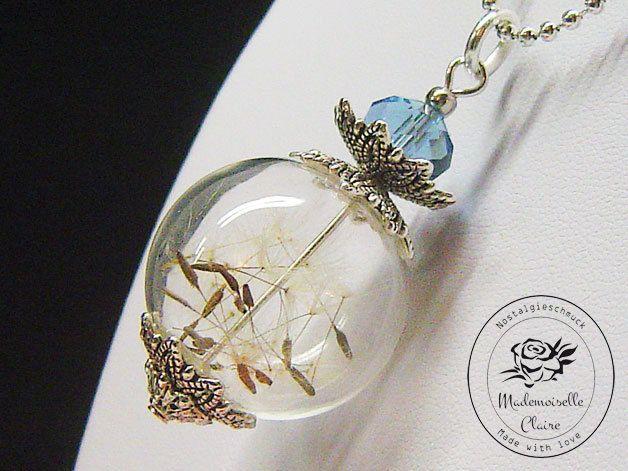 Halskette - ECHTE Pusteblume - versilbert von Mademoiselle Claire - Nostalgieschmuck auf DaWanda.com