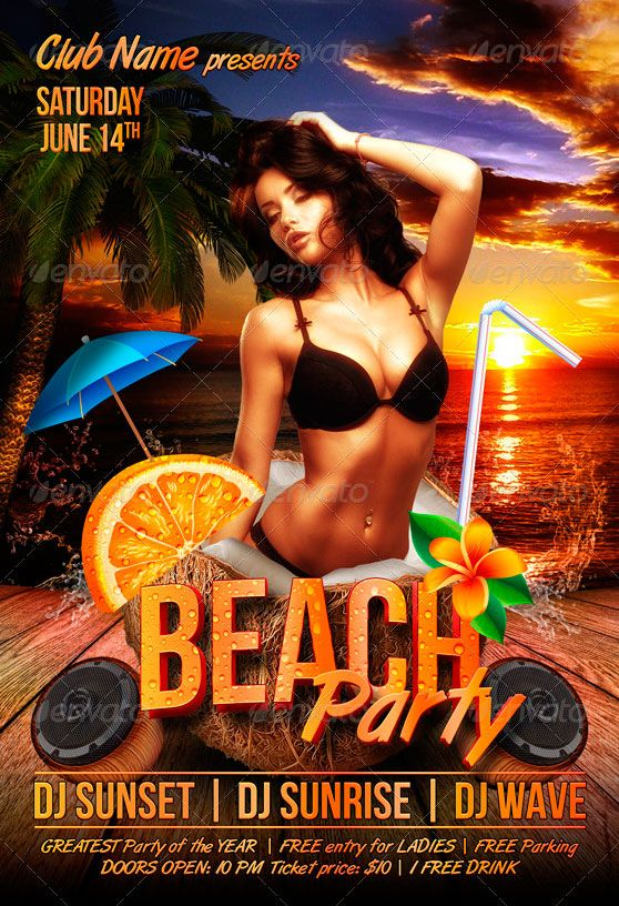 Beach Party Flyer Template - http://www.ffflyer.com/beach-party ...