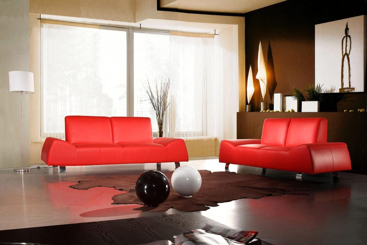 Divani Casa 120 - Modern Red Leather Sofa and Love Seat ...