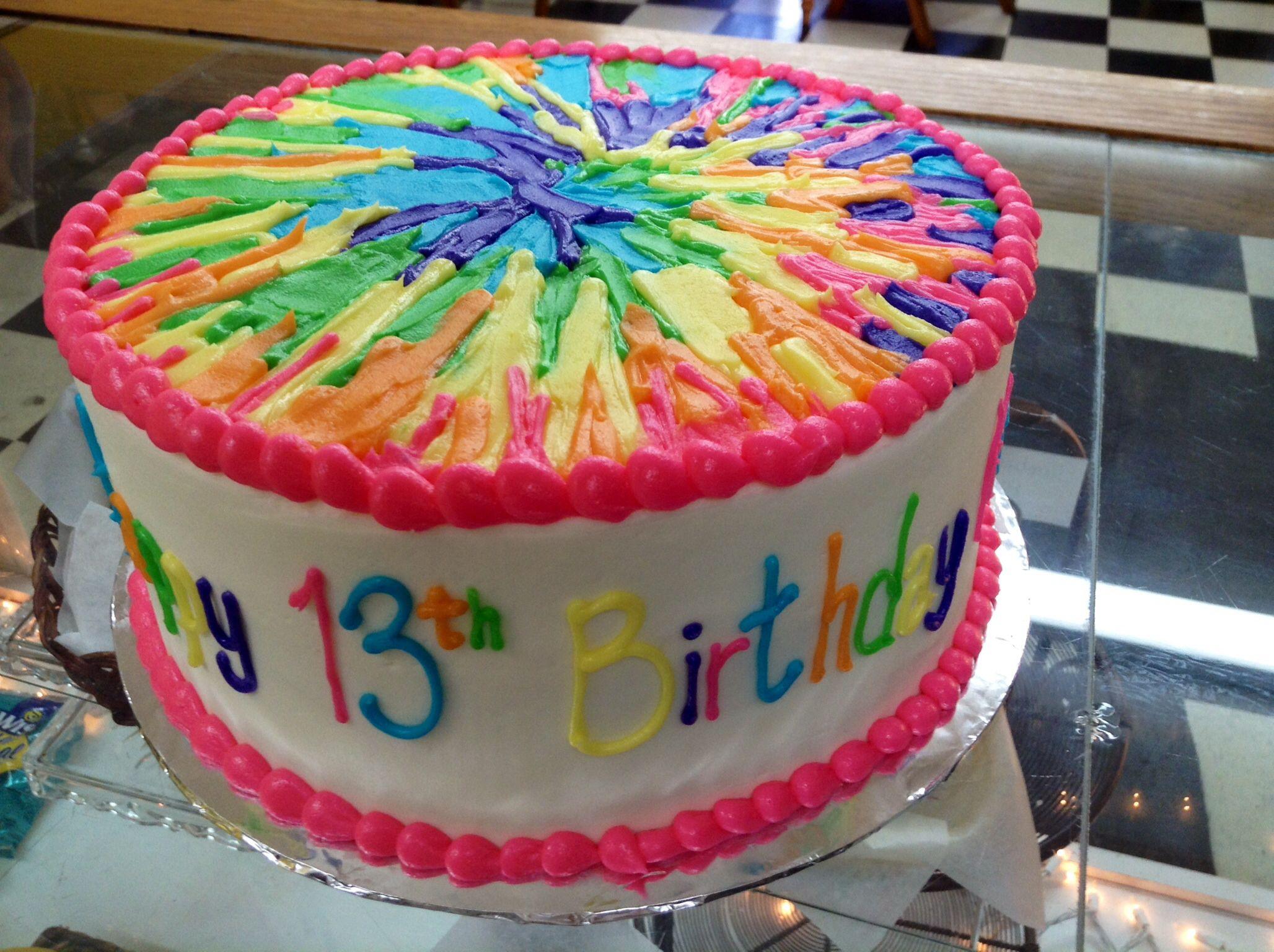 Tie Dye Theme Thirteenth Birthday Cake
