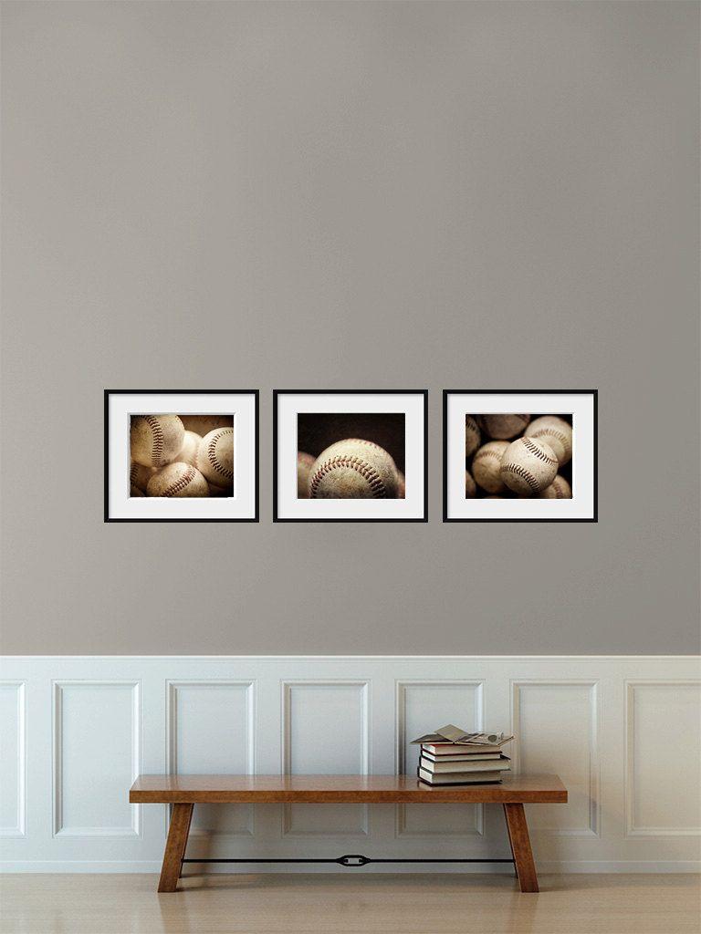 Boys bedroom decor set of baseball print or canvas art gift for